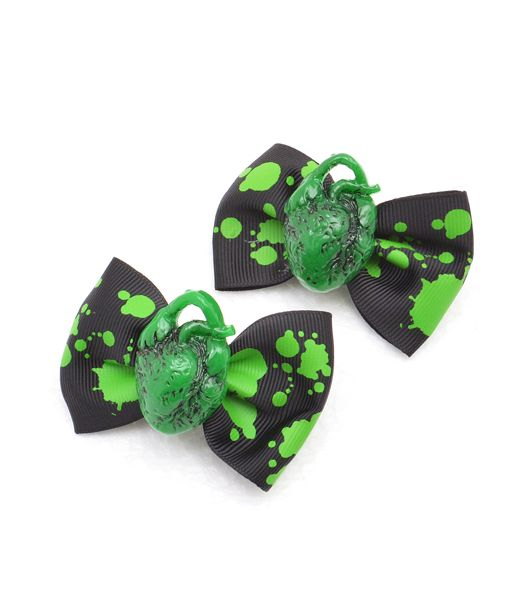HEART GREEN リボンヘアピン