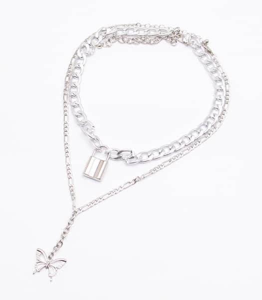 南京錠&バタフライ 2重ネックレス