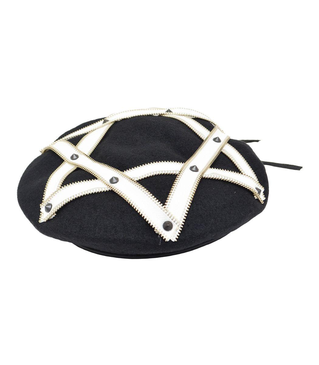 ジップヘキサグラムベレー帽