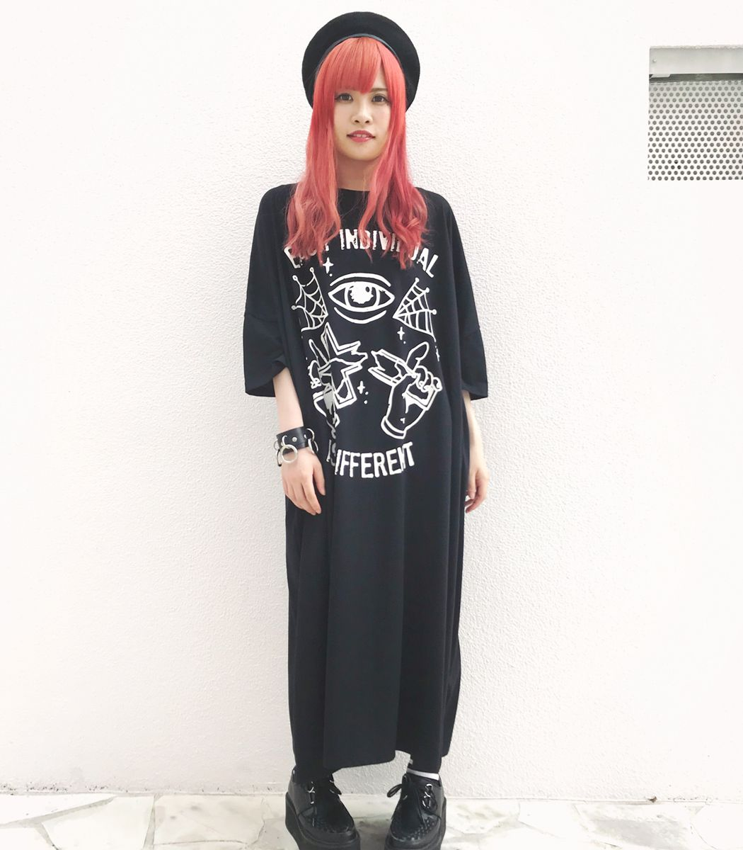 マキシ丈 ビッグTシャツワンピ