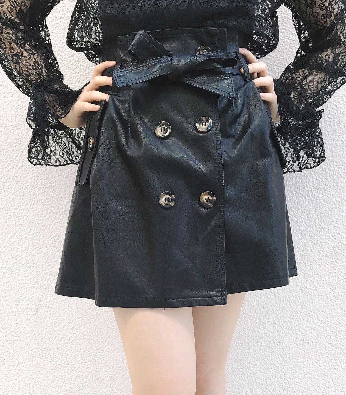 トレンチ風フェイクレザースカート