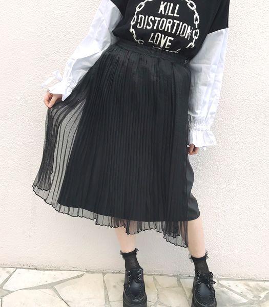 プリーツフェイクレザースカート