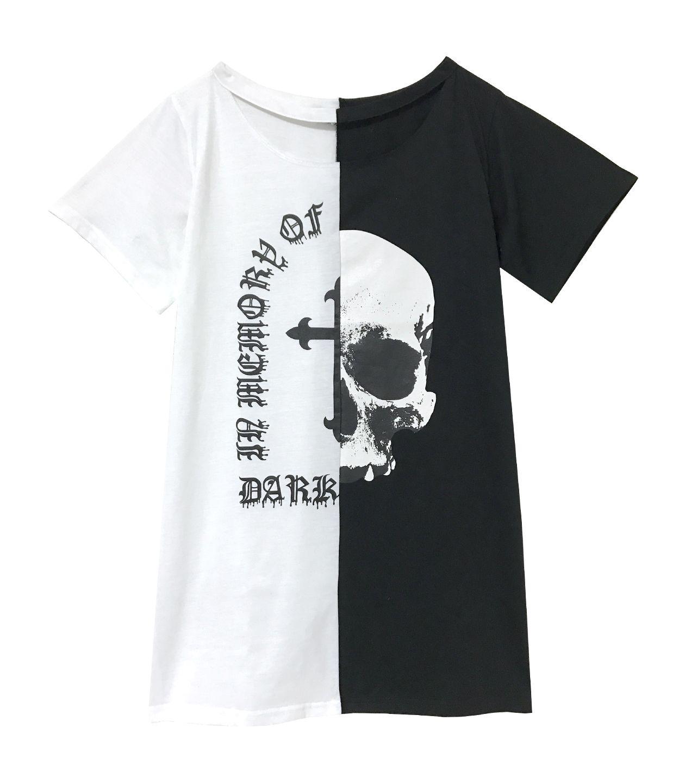 SKULL バイカラーロング丈Tシャツ
