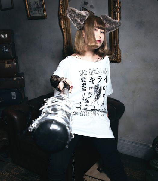 SAD GIRLS CLUB オープンショルダーTシャツ
