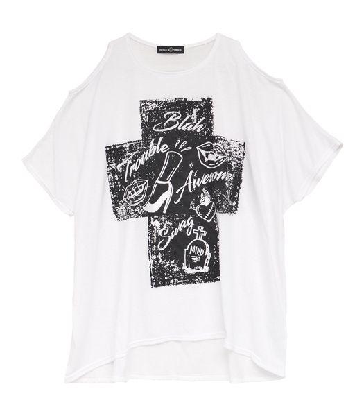 オープンショルダーTシャツ