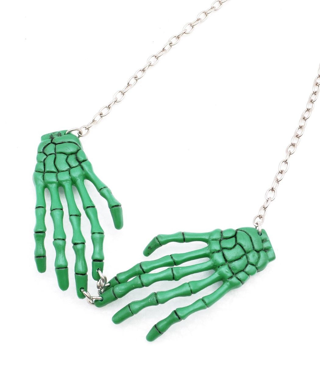 GREEN SKELETON ボーンハンドネックレス